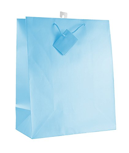 12-PC Solid Color Gift Bags, Matt Laminated, Light Blue Color