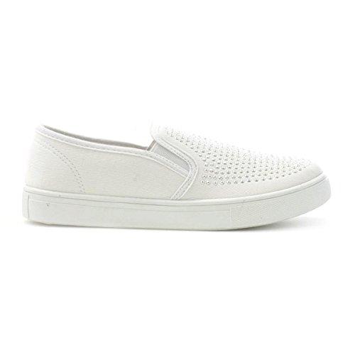 Lilley - Zapato de lona, sin cordones, para mujer, con apliques estilo diamante, en blanco Lilley Blanco