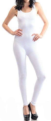URBAN K WOMENS Sleeveless Unitard Bodysuit,White L