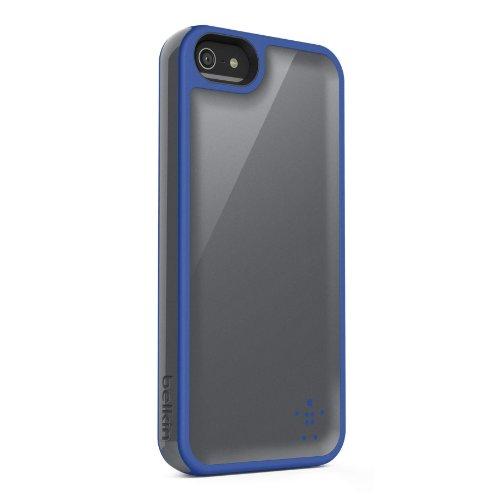 Belkin Grip Max Schutzhülle, Schutzschale für iPhone 5, grifffest, Blau/kiesfarben