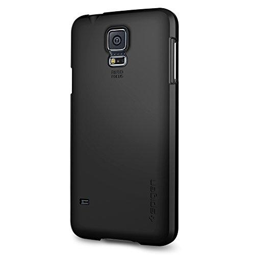 Spigen Case für Samsung Galaxy S5 Hülle ULTRA FIT - schwarz [Smooth Black - SGP10731]