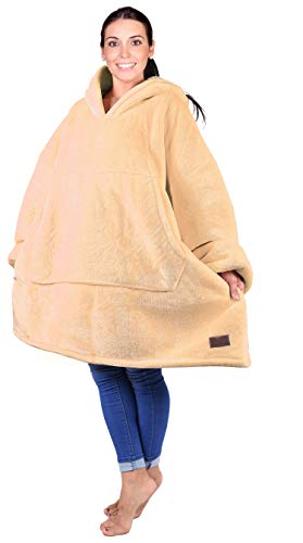 Catalonia Oversized Hoodie Blanket Sweatshirt,Super Soft Warm Comfortable Sherpa Giant Pullover with Large Front Pocket,for Adults Men Women Teenagers Kids