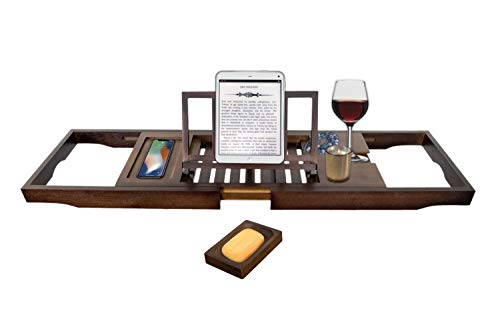SemplicePulito Luxury Bamboo Bathtub Caddy Tray | Adjustable Book/Tablet Holder | Wine Glass Holder | Cell Phone Holder | Bonus Free Soap Dish | Adjustable One or Two Person Bath Organizer.