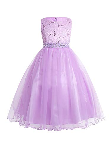 (CHICTRY Sequined Lace Bodice Shining Crystal Waist Flower Party Summer Evening Prom Pageant Dress Lilac 14)