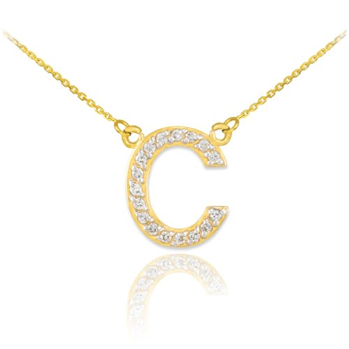 14k Yellow Gold Diamond Letter C Initial Pendant Necklace, 16