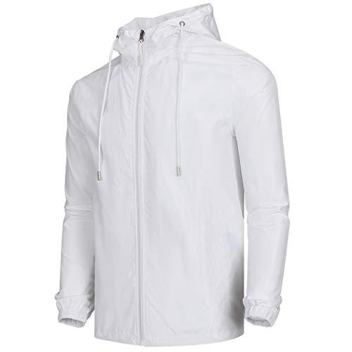 - WULFUL Men's Lightweight Windbreaker Jacket Waterproof Hooded Outdoor Jackets Casual Outwear Light Jacket White