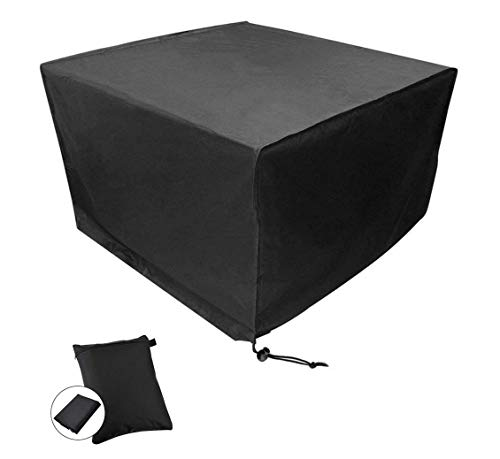 CDGroup Square Table Cover Garden Patio Rattan Furniture Covers Polyester Oxford Fabric Durable Cover, Waterproof Protective Cover for Outdoor Furniture Black (Cube: 53
