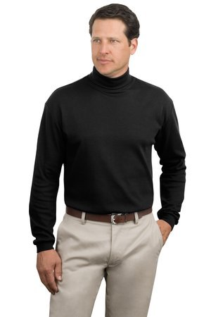 Port Authority Men's Big Interlock Knit Turtleneck - Black - - Authority Interlock Port Knit Turtleneck