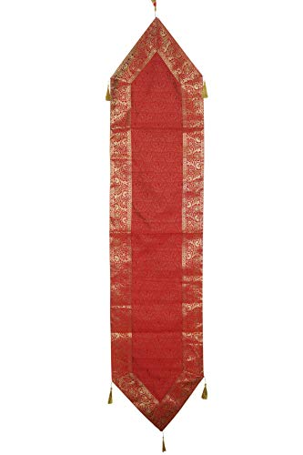Mogul Interior Red Silk Table Runner Decorative Tapestry Table Cloth Dining Table Runner Floral Design with Tassels 70X16 ()