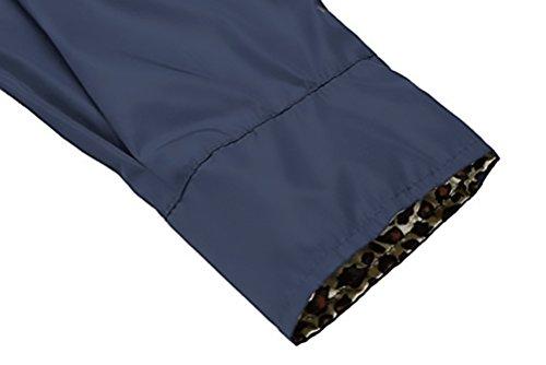 Jacket Botones Impermeables Capucha oscuro De Outdoor Con Abrigos Encapuchado Con Lluvia Chaquetas Larga Biker Transpirable Trekking Outcoat Chaqueta Coat Azul Encerados Mujer Manga Solapa HdqZ1