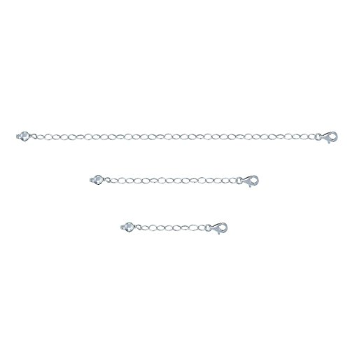 GemStar USA Sterling Silver Pendant Necklace Bracelet Anklet Chain Extenders for Necklace, 1 2 and 4