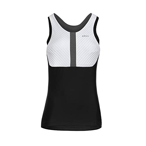 ROKA Women's Gen II Elite Aero Sleeveless Triathlon Sport Top - White/Black - Large/Tall