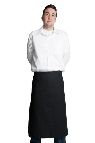 Fiumara Apparel Full Bistro Apron with 1 Inset Pocket Poly Cotton - Black | 32