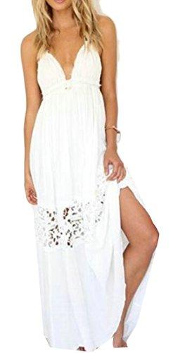 Neck Trim Backless Sexy Cruiize Halter Womens Split White Lace V Dress Long wFqxROC