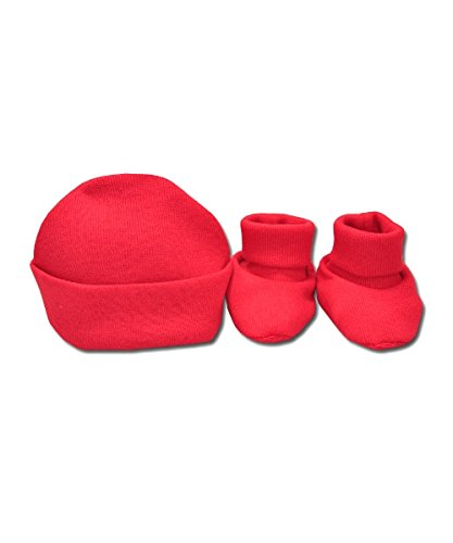 Perfectly Preemie Head & Toe Warmer (Red, Teeny (2-4lbs)) - Preemie Booties