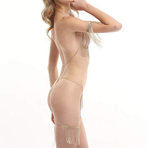 Connie Cloris Women Gold Bra Body Chain Suit (Gold-Breast Chain-Waist Chain-arm Chain-Leg Chain) by Connie Cloris (Image #2)