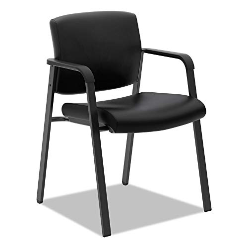 HON Validate Stacking Guest Chair, Black SofThread Leather (HVL605)