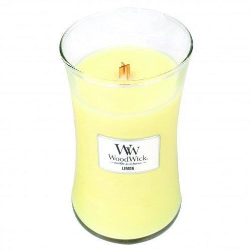 Woodwick Hourglass Limone Candela Profumata in Giara di Vetro, Grande, Giallo, 10.8x10.3x17.5 cm Virginia Candle Company 93067