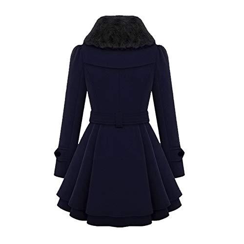 In Lana Con s Cintura Coat Invernale 2xl Doppio red Cappotto Petto Trench Gaoqq Misto Navy Donna 1qAvxtwX