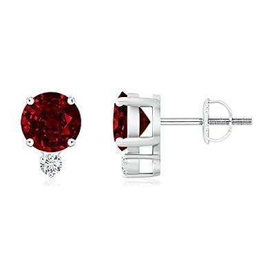 Angara Basket Stud Ruby Solitaire Earrings in Platinum 6KXYRziGg