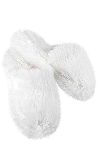 PajamaGram Women's Slippers Soft Shag - House Slippers for Women, White, 7/8