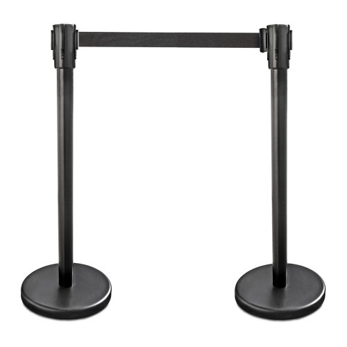 New Star Foodservice 54590 Stanchion, 36-Inch Height, 6.5-Foot Retractable Belt, Set of 2, Black