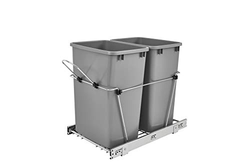 Rev-A-Shelf - RV-18KD-17C S - Double 35 Qt. Pull-Out Silver and Chrome Waste Container ()