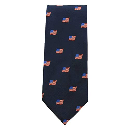 Jacob Alexander Men's Woven American Flags USA Navy Neck Tie - Regular