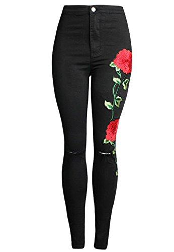 Denim Floral Jeans - Yi Xian Women Pencil Stretch Embroidered Floral High Waist Ripped Slim Denim Jeans (US 14 (3XL), Black)