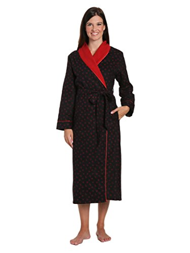 Women's Premium Flannel Fleece Lined Robe - Doodle hearts Black-Red - X-Large