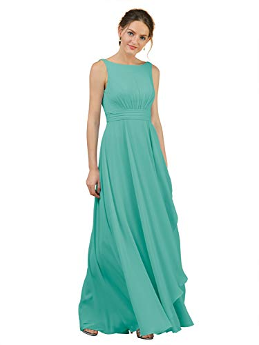 Alicepub A-Line Chiffon Bridesmaid Dress Long Party Evening Dresses Prom Gown Maxi, Tiffany, US2