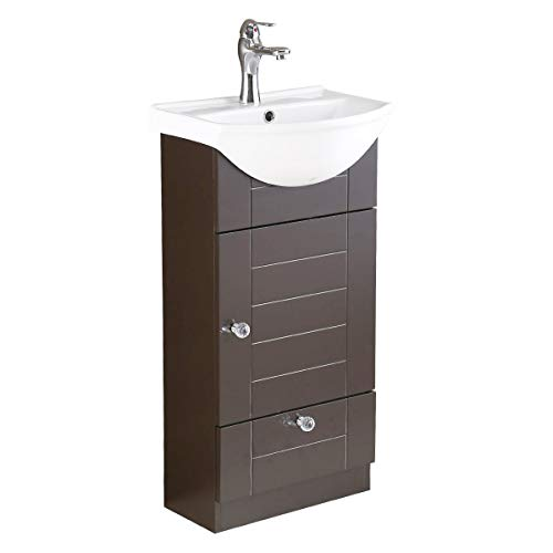 Small Cabinet Vanity Sink Dark Oak Faucet And Drain Space Saving Design | Renovator's Supply