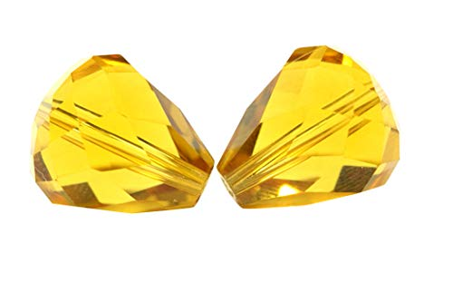 24pcs 10x8mm Adabele Austrian Teardrop Crystal Beads Amber Yellow Compatible with 5500 Swarovski Crystals Preciosa SST-1007