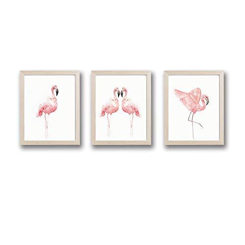 Framed Pink Flamingos Love Art Print Set of 3 (10