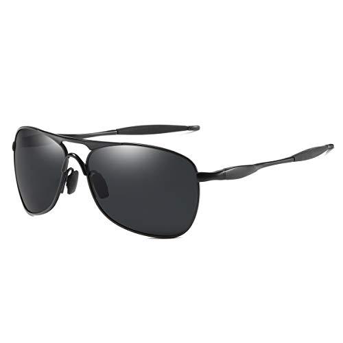 Aviator Polarized Sunglasses Square Metal Frame UV400 Protection Lens for Men and Women ()