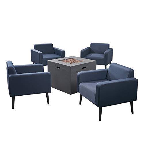 Great Deal Furniture Carina Outdoor Upholstered 5 Piece Club Chair and Fire Pit Set, Navy Blue and Dark Gray ()