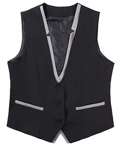 Foucome Women Waistcoat Vest V Neck Sleeveless Formal Suit Dress Business Coat Top Black