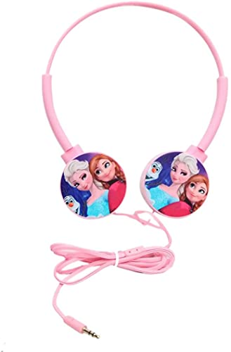 Prezzie Villa® Frozen Kids Wire Headphone with Mic 3.5mm Jack Bass Booster Foldable Adjustable On-Ear Headphones for School, Compatible with Cellphones, Tablets, PC (Pack of 1)