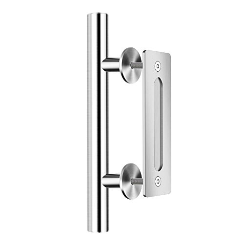 SMARTSTANDARD SHH0801STAINLESS Heavy Duty Large Rustic Flush and Pull Barn Door Handle, 12'', Stainless Steel, Simple and Easy to Install by SMARTSTANDARD (Image #3)