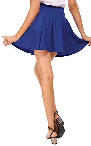 bc3bfc8d8 EXCHIC Women Stretch Waist Flared Mini Skater Skirt Casual Pleated Skirts  (XS, Royal Blue