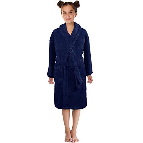 Clacce Respirant Peignoir Enfant à Manches Longues de Couleur Unie Vêtements de Nuit Pyjamas Robe de Bain Doux pour Garçons et Filles