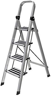 QFF Las escaleras de mano for el hogar, Escalera de Aluminio Combinación de múltiples funciones de tijera de doble uso Cuatro Escalera plegable estantería Soporte de flor doblez (Color : Silver): Amazon.es: