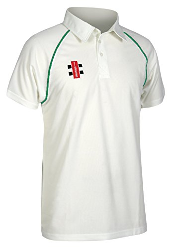 (Gray Nicolls Kids Matrix Boys Short Sleeve Cricket Shirt - Ivory/Bottle - 1112)