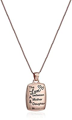 """Sterling Silver Gold Flashed """"The Love Between A Mother & Daughter Is Complicated, Noisy, Tender, Strong, Affectionate, Funny & Forever"""" Square Pendant Necklace, 18"""""""