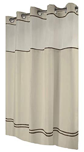 Hookless HBH40ES221 Escape Shower Curtain With Snap-In Liner, Sand With Brown Stripe, 71