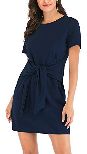 - MIDOSOO Womens Casual Loose Soft Crewneck Tie Frount Stretchy Swing T Shirt Dress #2Navy Blue XL