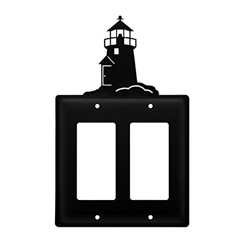 Lighthouse Iron Switchplate (Iron Lighthouse Double Modern Switch Cover - Heavy Duty Metal Light Switch Cover, Electrical Outlet Covers, Lightswitch Covers, Wall Plate Cover)