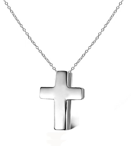Small Cross Pendant Necklace .925 Sterling Silver Religious Jewelry - Free Shipping Overnight