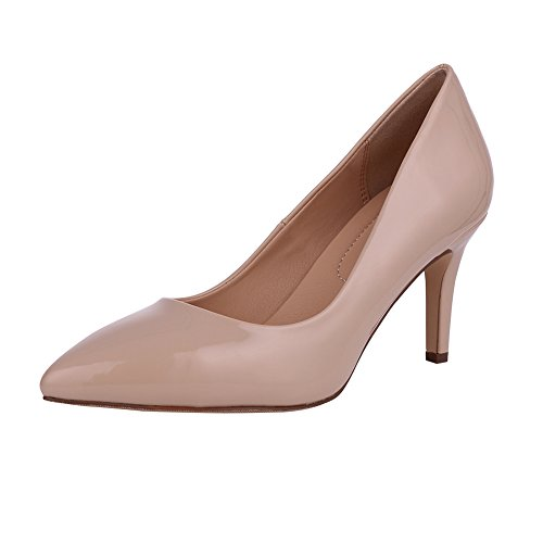 Women's Fashion Patent Leather High Heels Sexy Slip On Pointed Toe Pumps Wedding Party Basic Shoes (Sexy Fashion Shoes High Heel)