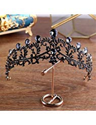 Black Exquisite Hollow Crown Manual Fashion Beautiful Princess Party Popular Rhinestone Bridal Queen High-Grade Headband Tiara Costume Christmas ()